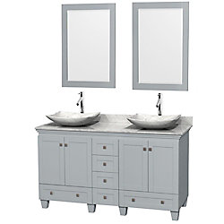 Wyndham Collection Acclaim 60-inch W 6-Drawer 4-Door Vanity in Grey With Marble Top in White, Double Basins With Mirror