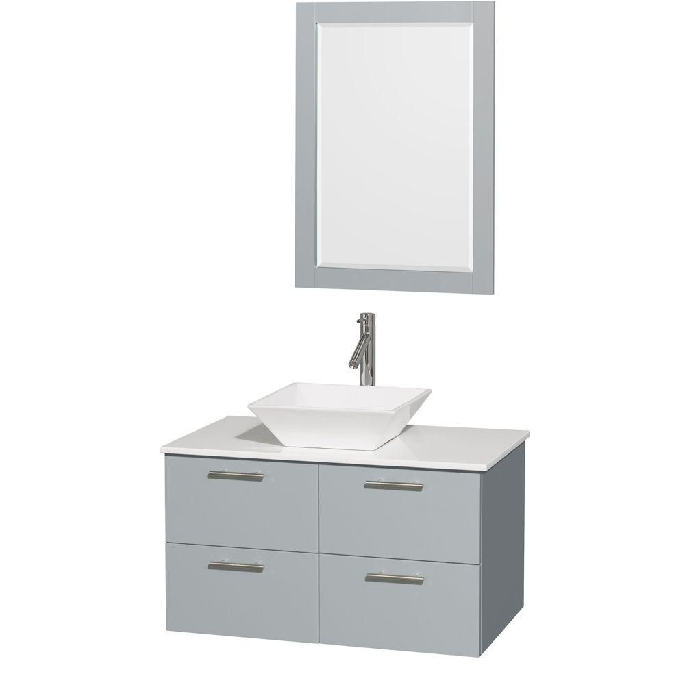 Amare 36-inch W Vanity in Dove Grey with Solid Top, White Porcelain Sink and Mirror
