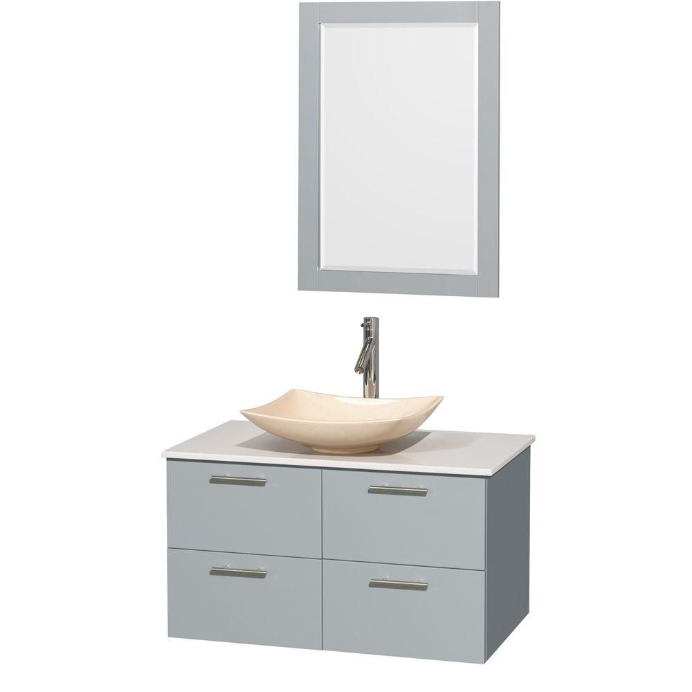 """Meuble s. bains simp Amare 36"""" gris colombe, comptoir solide blanc, évier marbre ivoire, mir 24"""""""