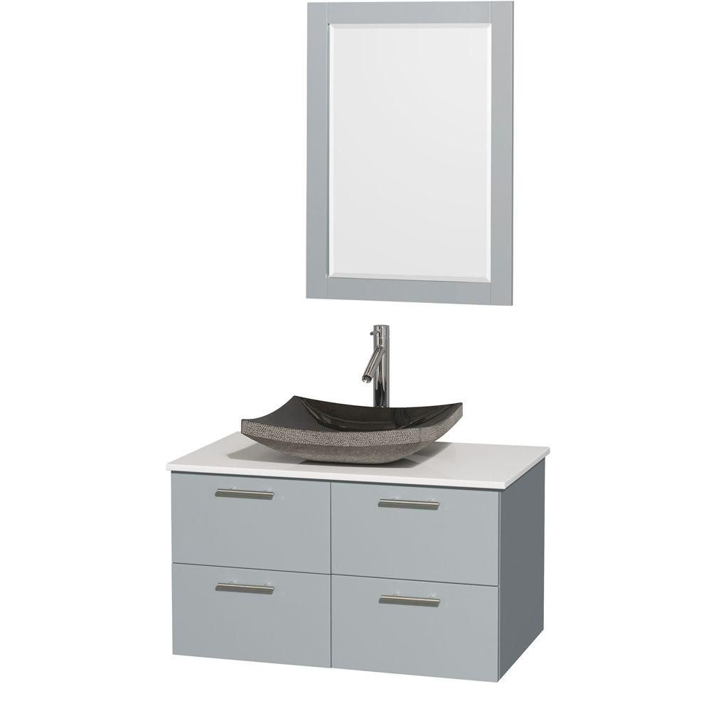 Amare 36-inch W Vanity in Dove Grey with Solid Top, Black Granite Sink and Mirror