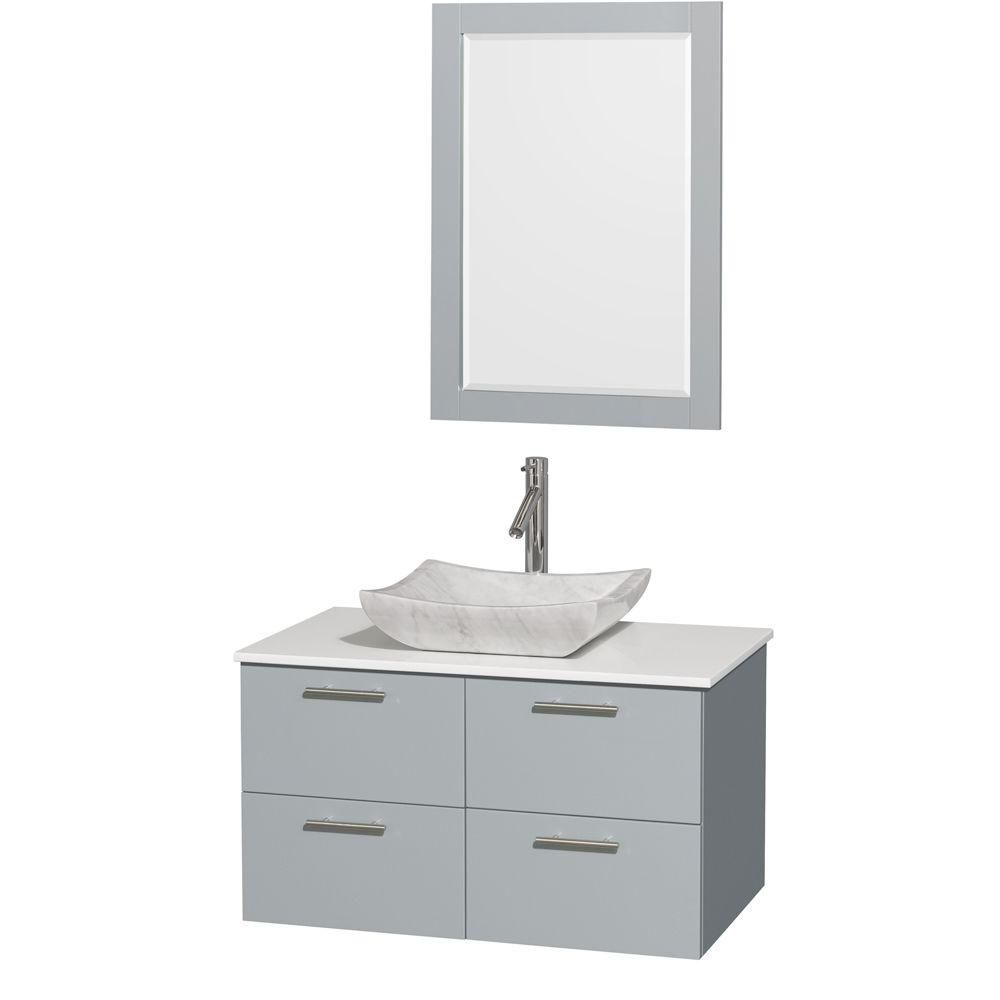 Amare 36-inch W Vanity in Dove Grey with Solid Top, White Carrara Sink and Mirror