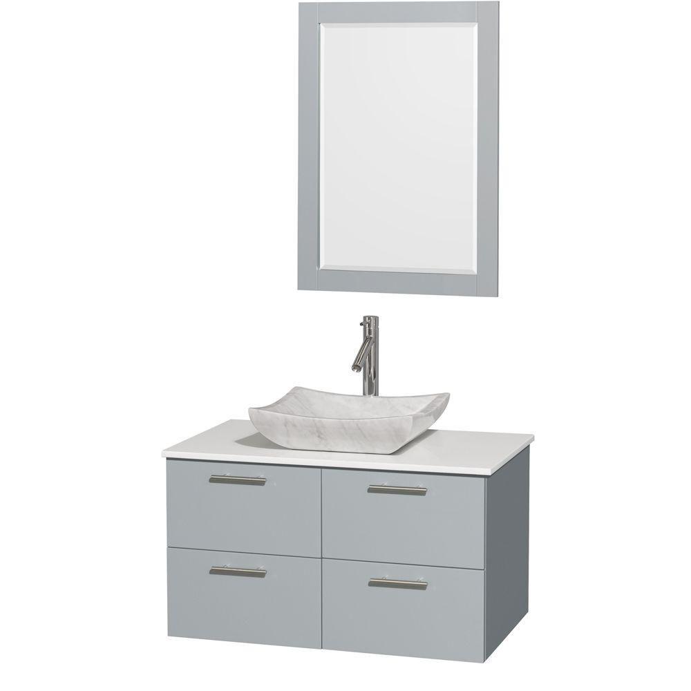 """Meuble s. bains simp Amare 36"""" gris colombe, comptoir solide blanc, évier Carrare blc, mir 24"""""""