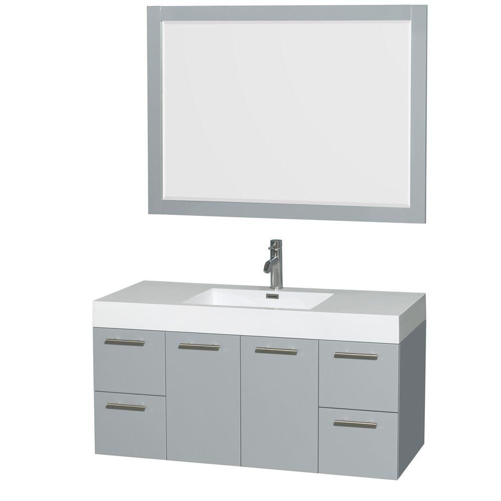 Amare 48-inch W Vanity in Dove Grey with Acrylic-Resin Top, Integrated Sink and Mirror