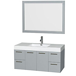 Wyndham Collection Amare 47-inch W 2-Drawer 2-Door Wall Mounted Vanity in Grey With Acrylic Top in White With Mirror