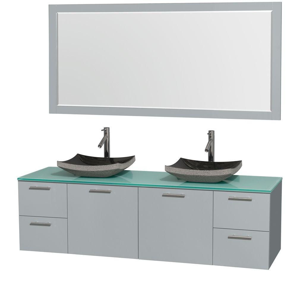 Amare 72-inch W Double Vanity in Dove Grey with Glass Top, Granite Sinks and Mirror