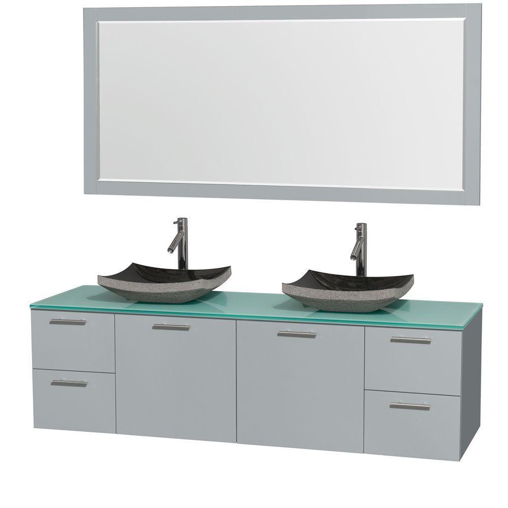 """Meuble s. bains dbl Amare 72"""" gris colombe, comptoir verre vert, éviers granit noir, mir 70"""""""