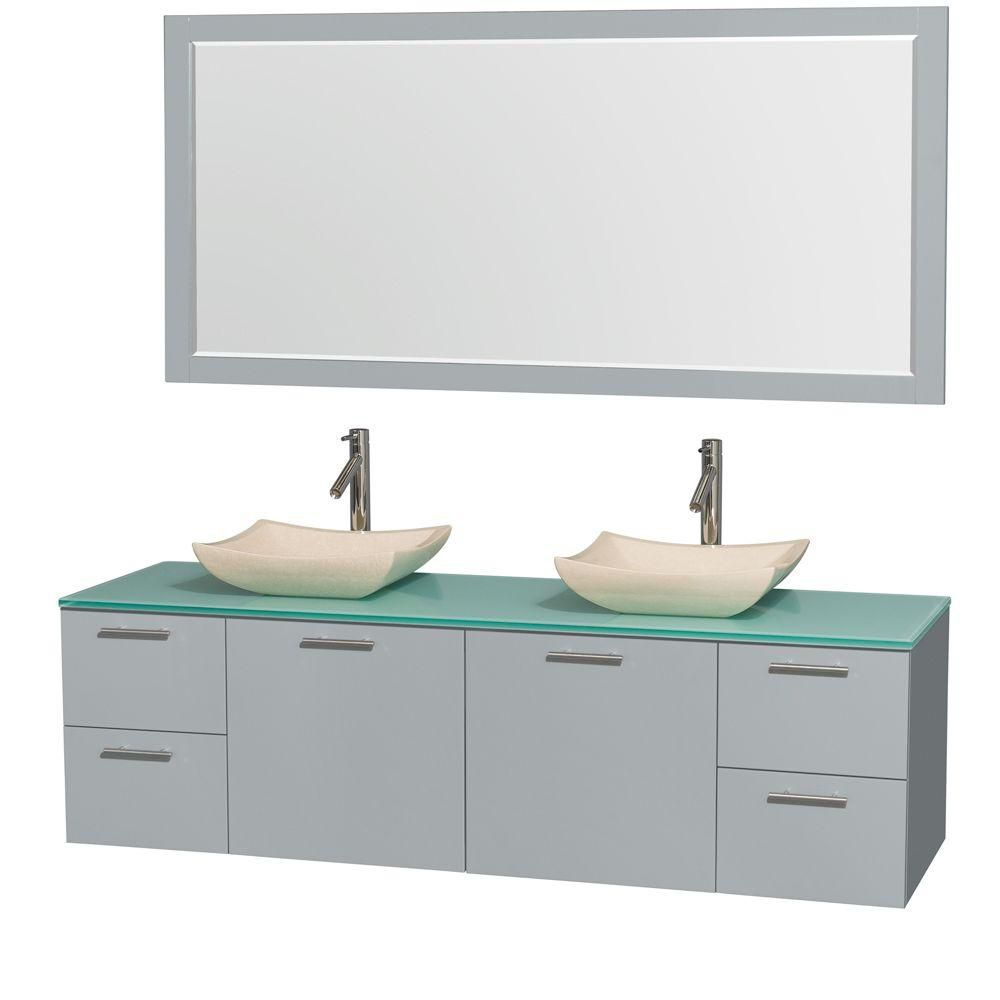 Amare 72-inch W Double Vanity in Dove Grey with Glass Top, Marble Sinks and Mirror