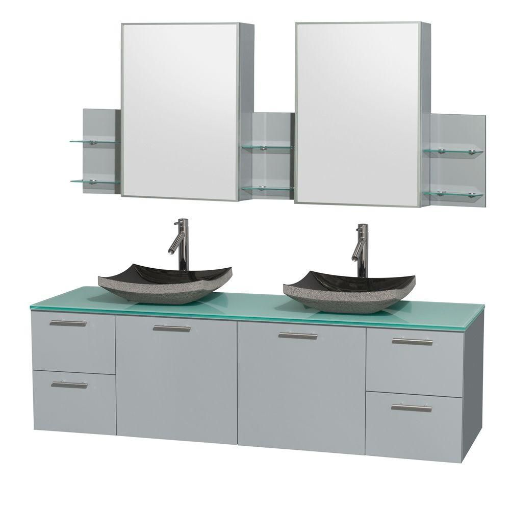 Amare 72-inch W Double Vanity in Dove Grey with Glass Top, Sinks and Medicine Cabinet
