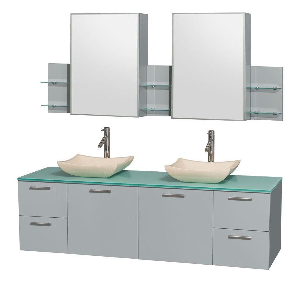 Amare 72-inch W Double Vanity in Dove Grey with Glass Top, Marble Sinks and Medicine Cabinet