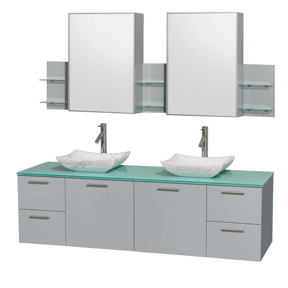 Amare 72-inch W Double Vanity in Dove Grey with Glass Top, Carrara Sinks and Medicine Cabinet
