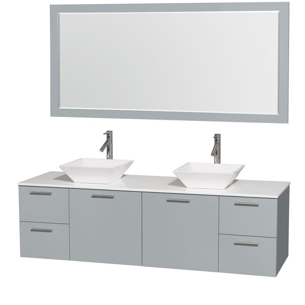 Amare 72-inch W Double Vanity in Dove Grey with Solid Top, Porcelain Sinks and Mirror