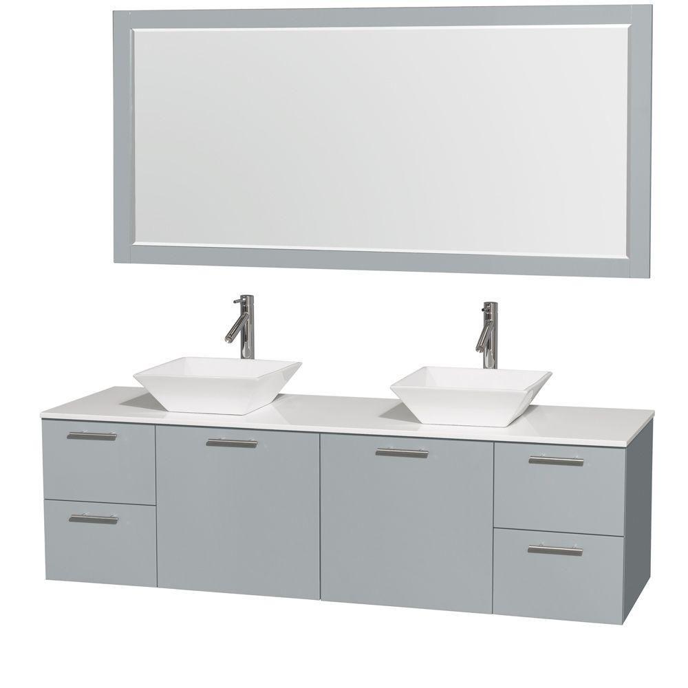 """Meuble s. bains dbl Amare 72"""" gris colombe, compt solide blanc, éviers porcelaine blc, mir 70"""""""