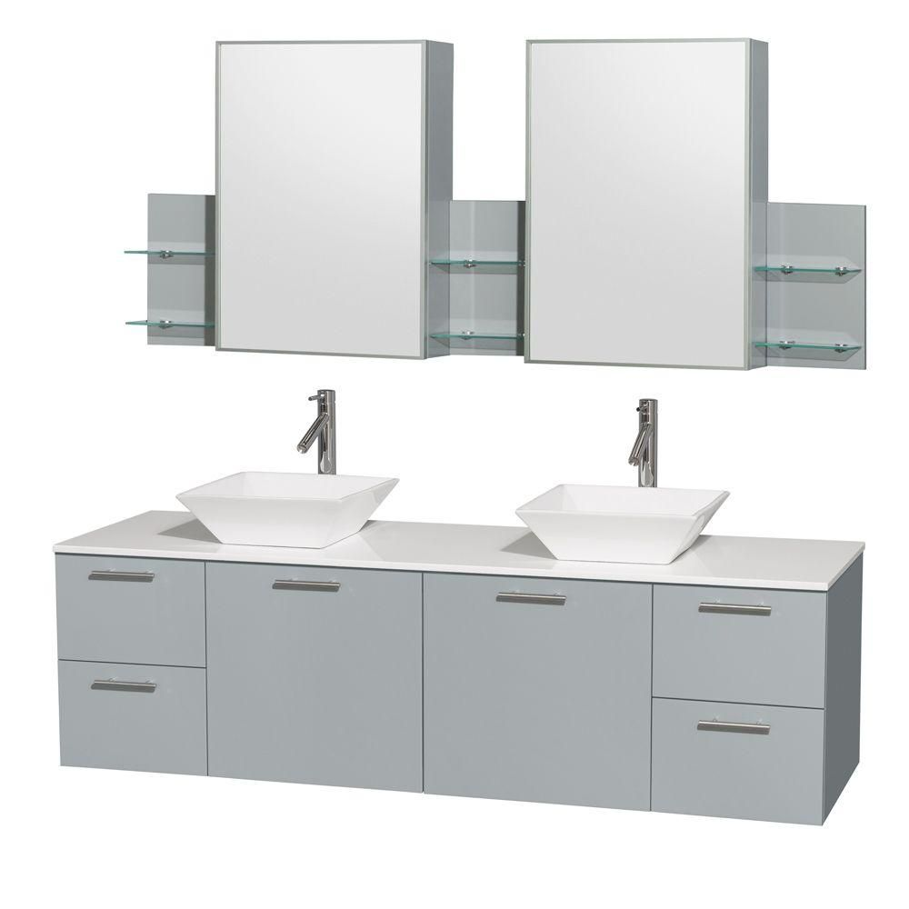 Amare 72-inch W Double Vanity in Dove Grey with Solid Top, Porcelain Sinks and Medicine Cabinet