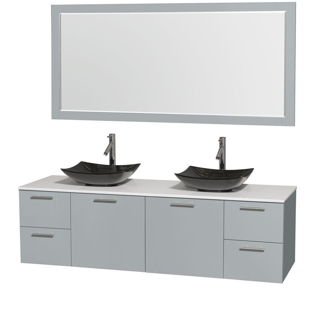 Amare 72-inch W Double Vanity in Dove Grey with Solid Top, Granite Sinks and Mirror