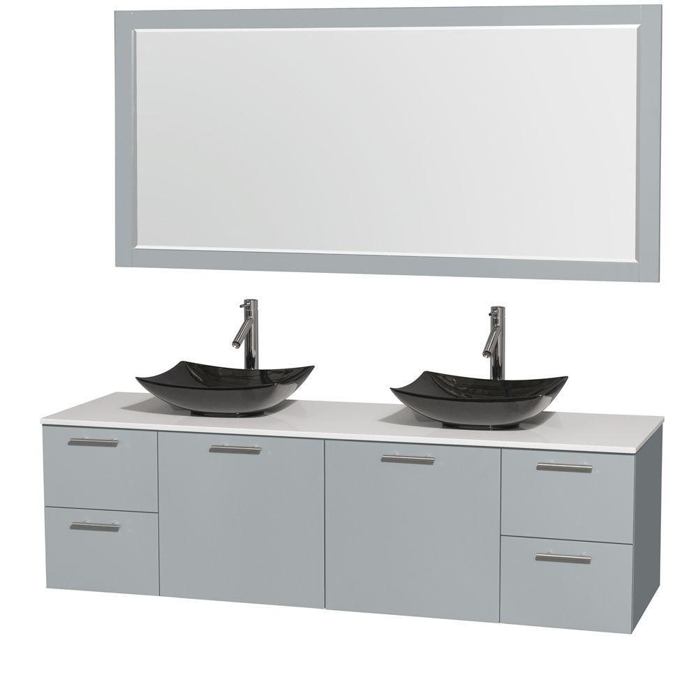 """Meuble s. bains dbl Amare 72"""" gris colombe, comptoir solide blanc, éviers granit noir, mir 70"""""""