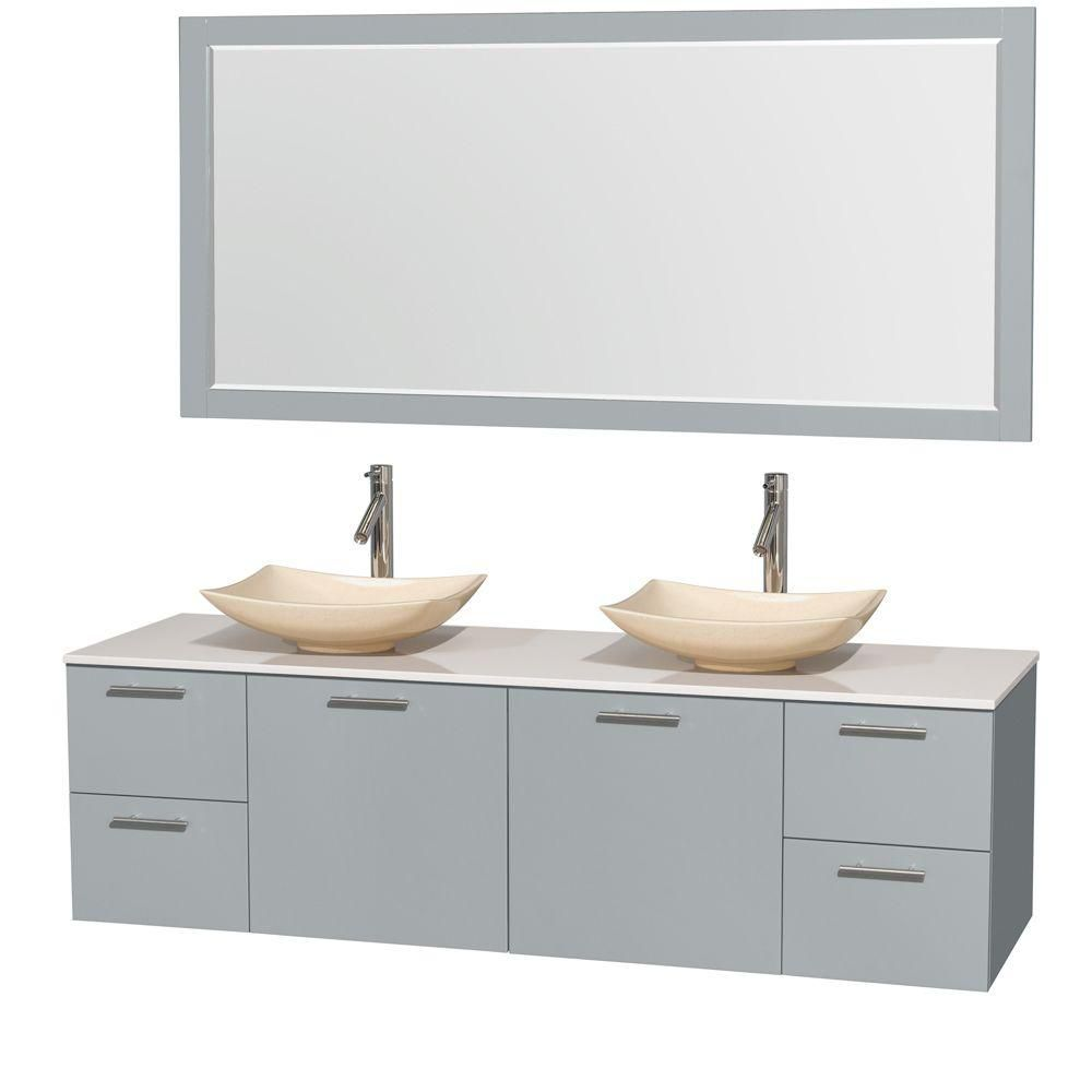 Amare 72-inch W Double Vanity in Dove Grey with Solid Top, Marble Sinks and Mirror
