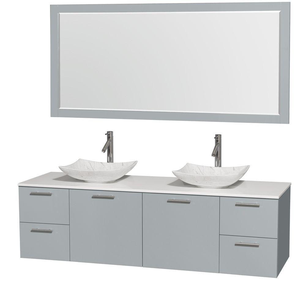 """Meuble s. bains dbl Amare 72"""" gris colombe, comptoir solide blanc, éviers Carrare blc, mir 70"""""""