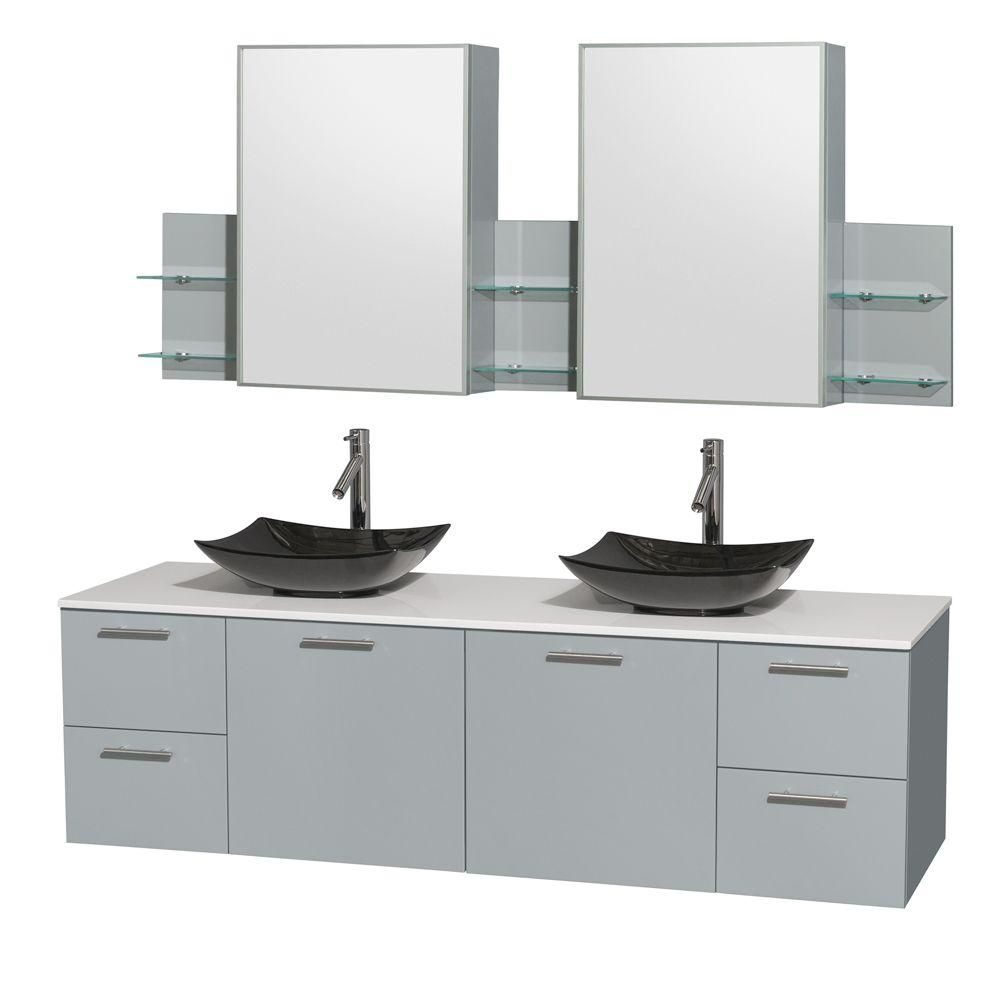 Amare 72-inch W Double Vanity in Dove Grey with Solid Top, Granite Sinks and Medicine Cabinet