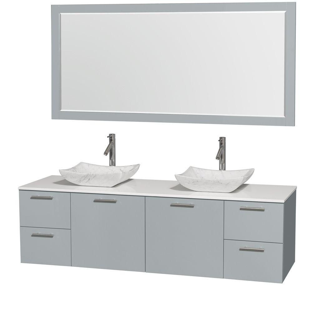 Amare 72-inch W Double Vanity in Dove Grey with Solid Top, Carrara Sinks and Mirror