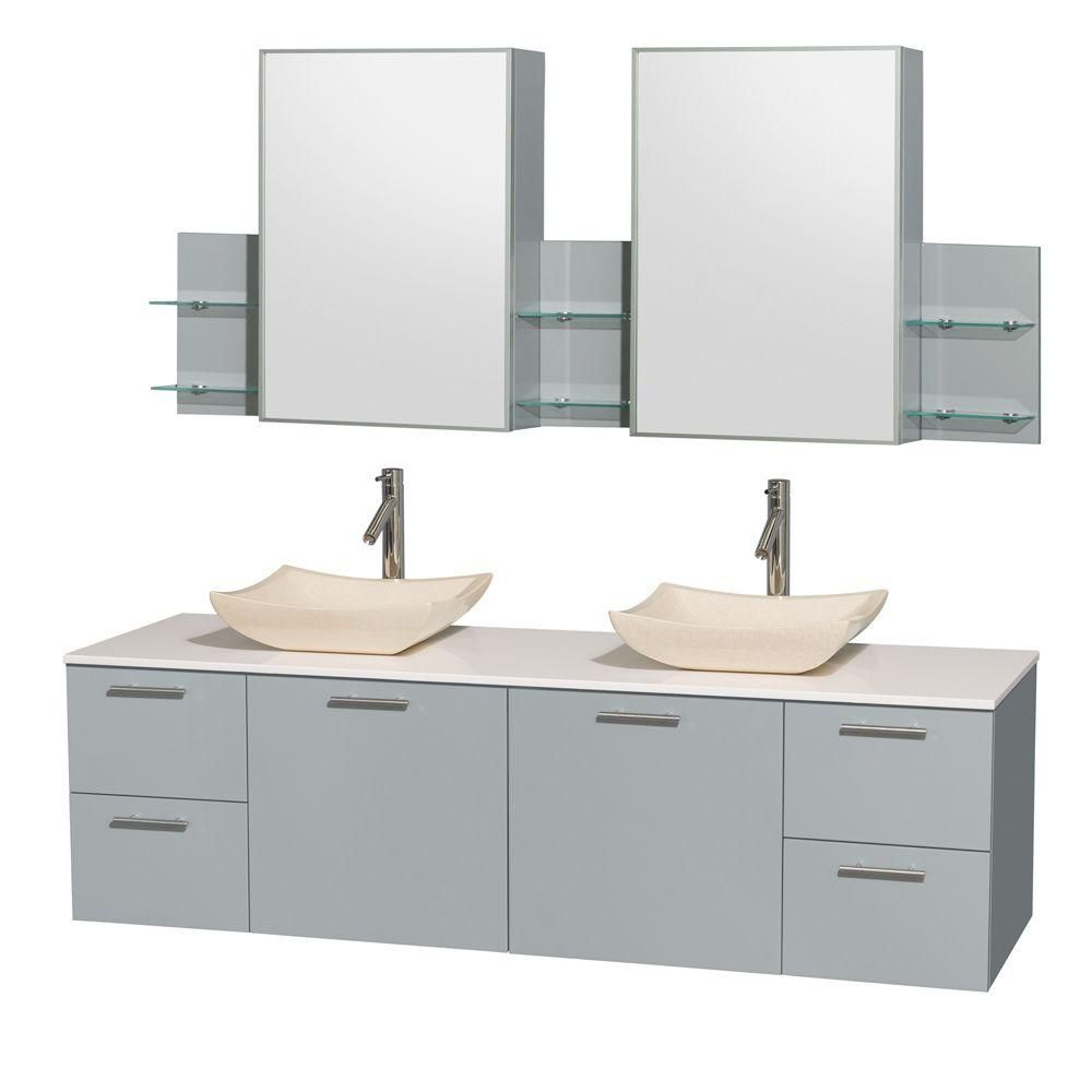 """Meuble s. bains dbl Amare 72"""" gris colombe, comptoir solide blanc, éviers marbre ivoire, arm. méd..."""