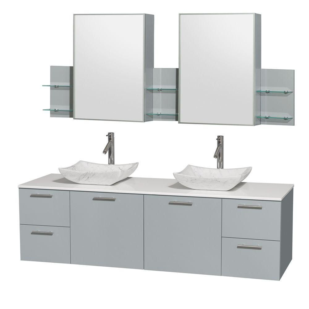 Amare 72-inch W Double Vanity in Dove Grey with Solid Top, Carrara Sinks and Medicine Cabinet