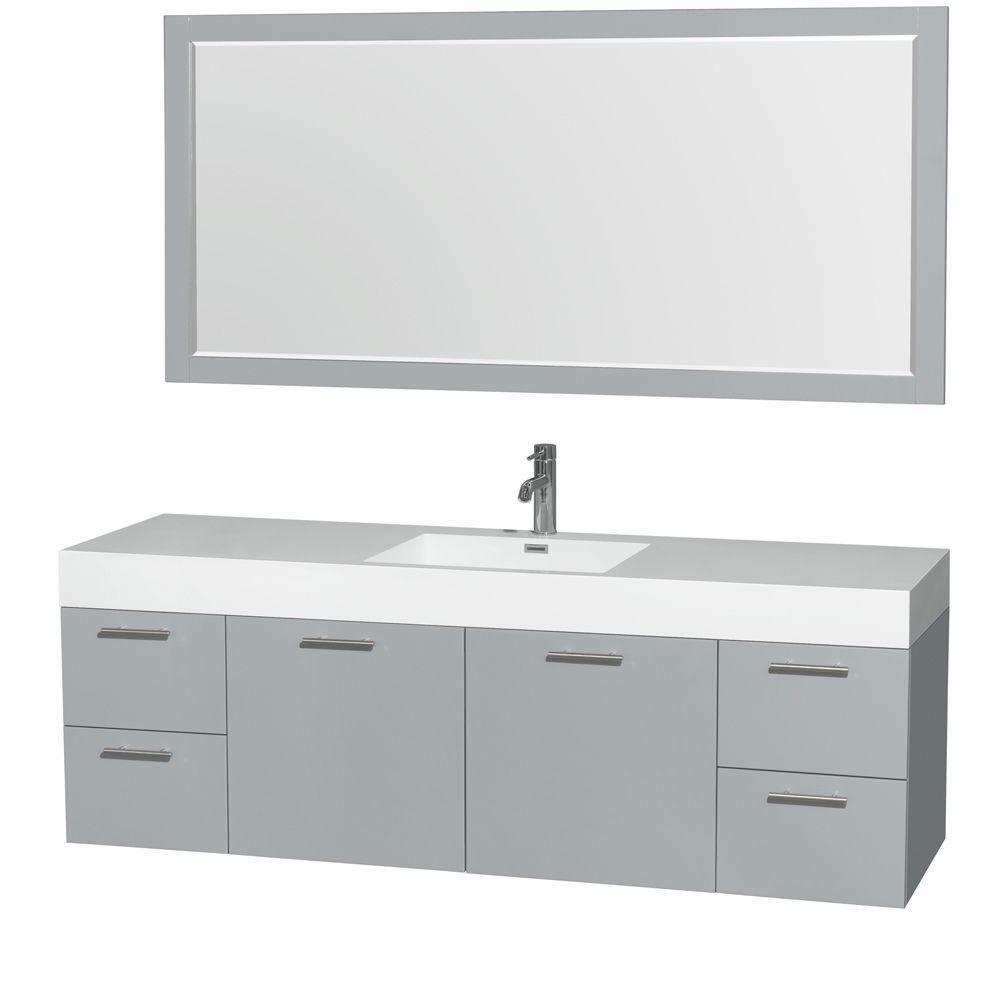 Amare 72-inch W Double Vanity in Dove Grey with Acrylic-Resin Top and Medicine Cabinet