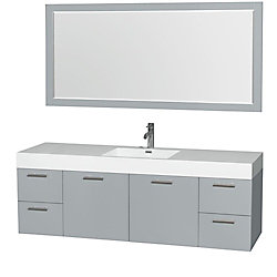 Wyndham Collection Amare 72-inch W 4-Drawer 2-Door Wall Mounted Vanity in Grey With Acrylic Top in White With Mirror