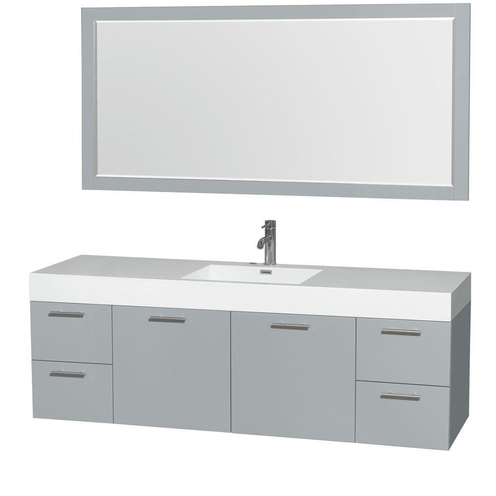 """Meuble s. bains simple Amare 72"""" gris colombe, comptoir résine acrylique, évier intégré, miroir 7..."""