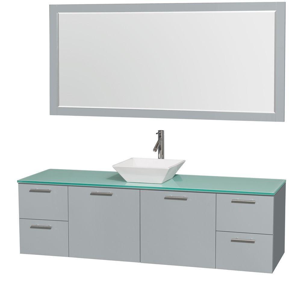 """Meuble s. bains simp Amare 72"""" gris colombe, comptoir verre vert, évier porcelaine blc, mir 70"""""""