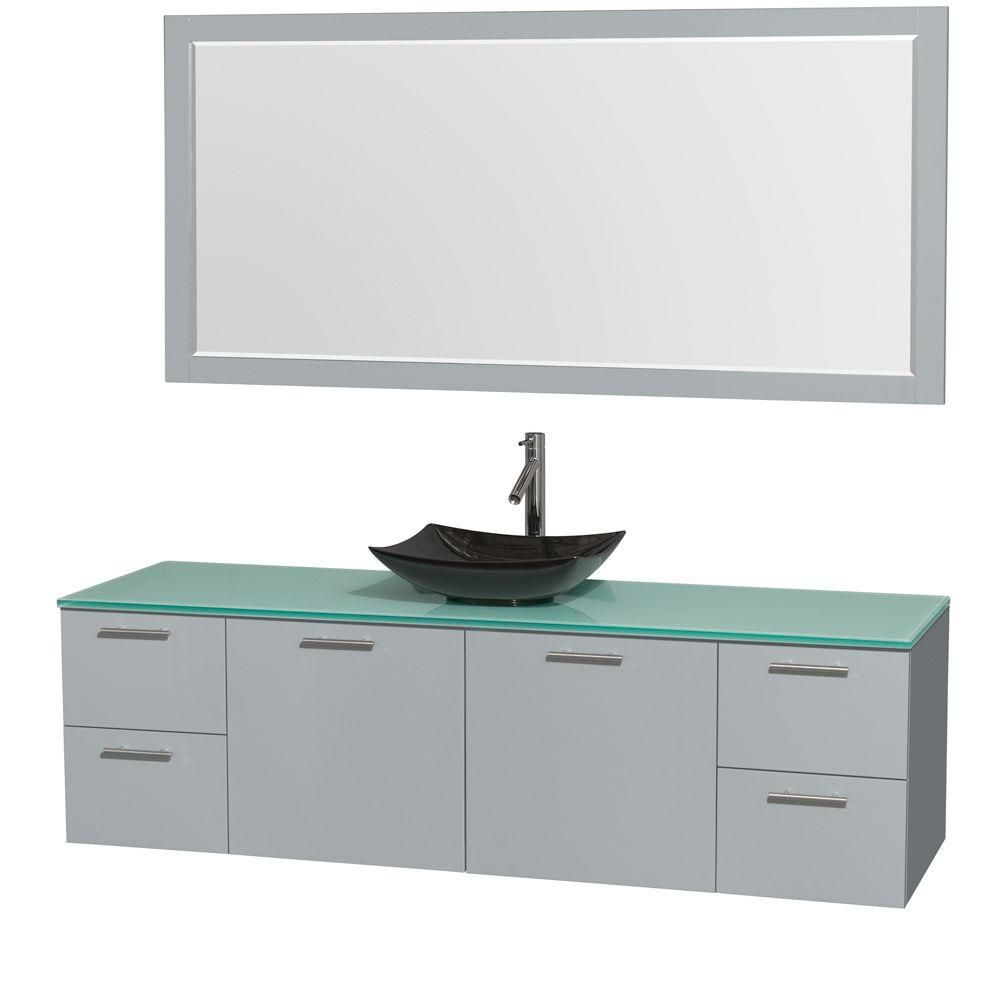 Amare 72-inch W Vanity in Dove Grey with Glass Top, Black Granite Sink and Mirror