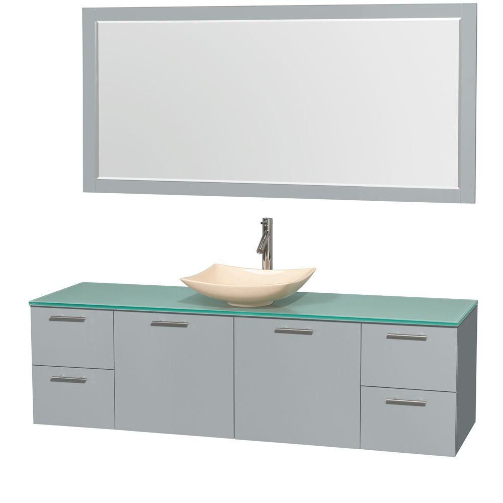 Amare 72-inch W Vanity in Dove Grey with Glass Top, Ivory Marble Sink and Mirror