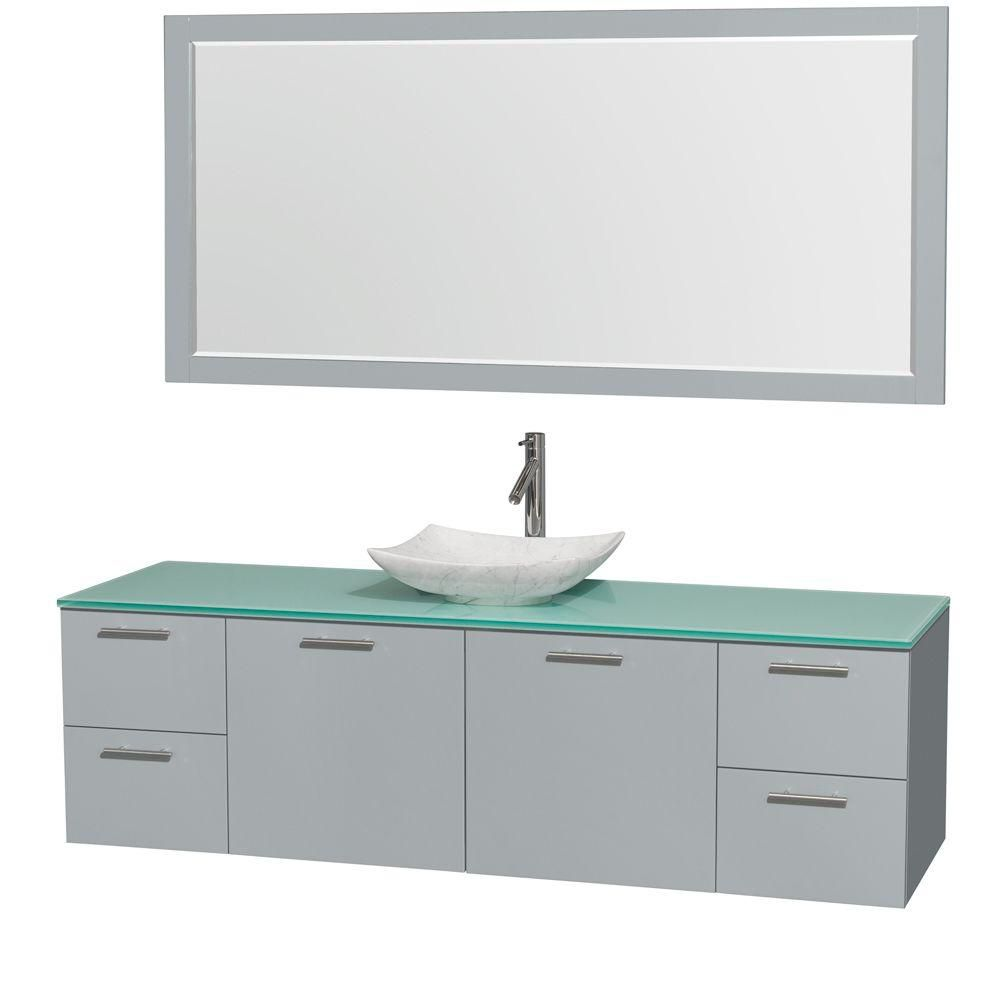 Amare 72-inch W Vanity in Dove Grey with Glass Top, White Carrara Sink and Mirror