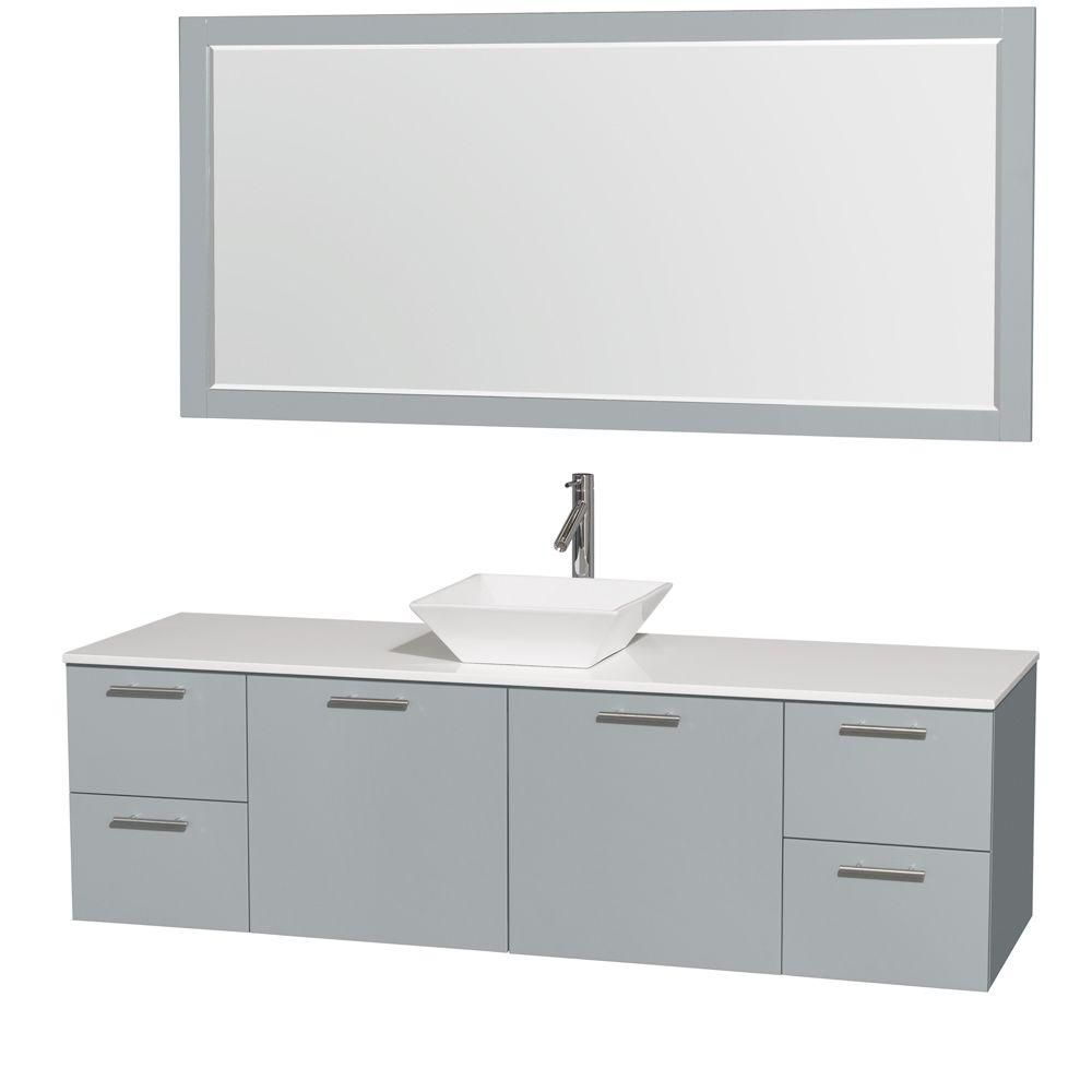 Amare 72-inch W Vanity in Dove Grey with Solid Top, White Porcelain Sink and Mirror