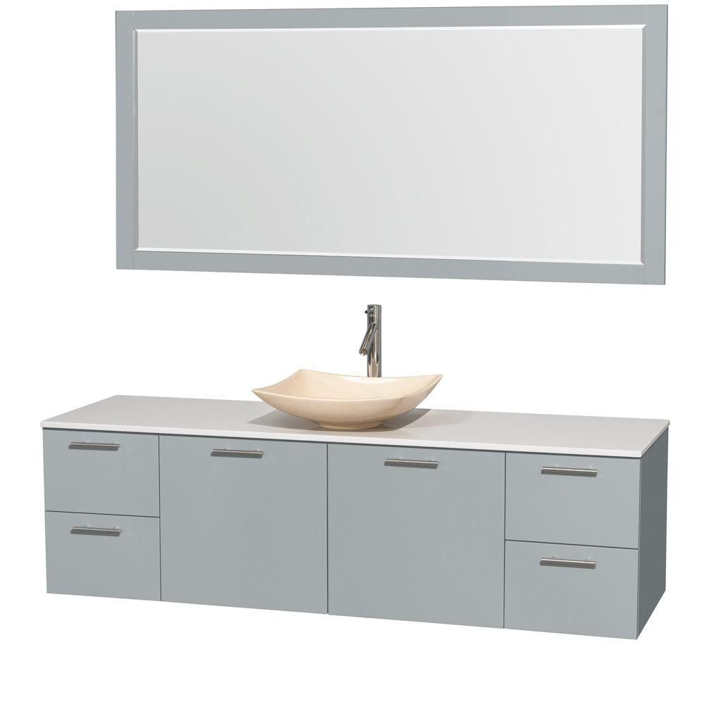 Amare 72-inch W Vanity in Dove Grey with Solid Top, Ivory Marble Sink and Mirror