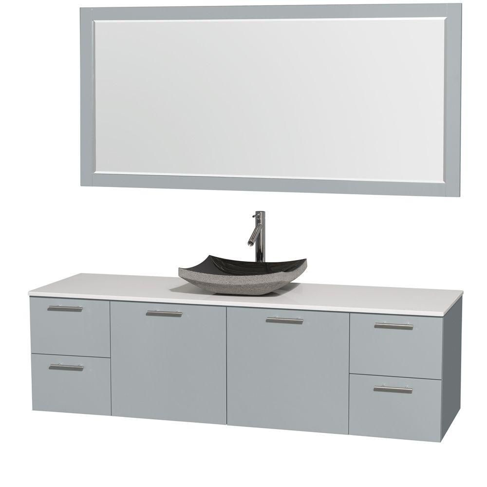 Amare 72-inch W Vanity in Dove Grey with Solid Top, Black Granite Sink and Mirror