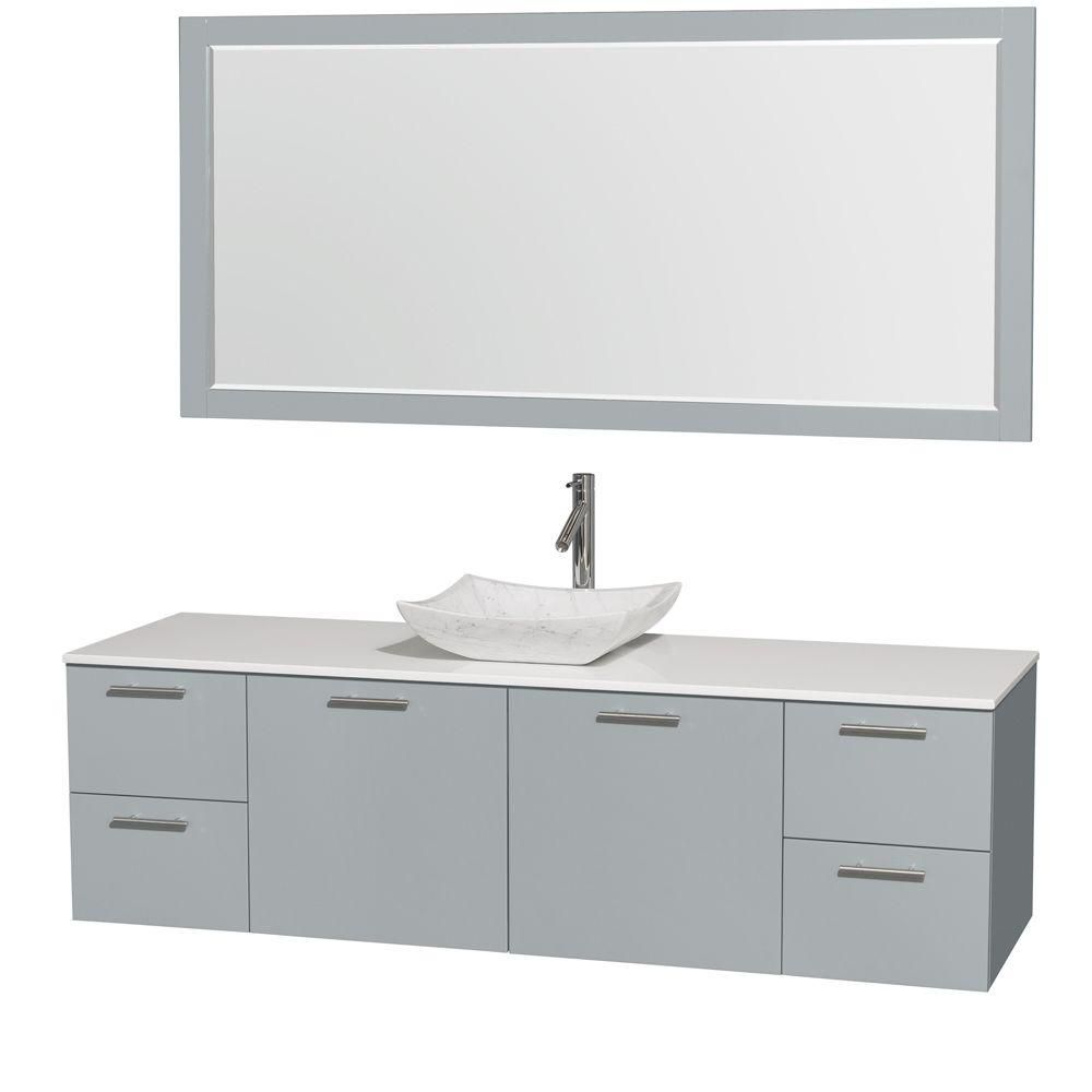 Amare 72-inch W Vanity in Dove Grey with Solid Top, White Carrara Sink and Mirror