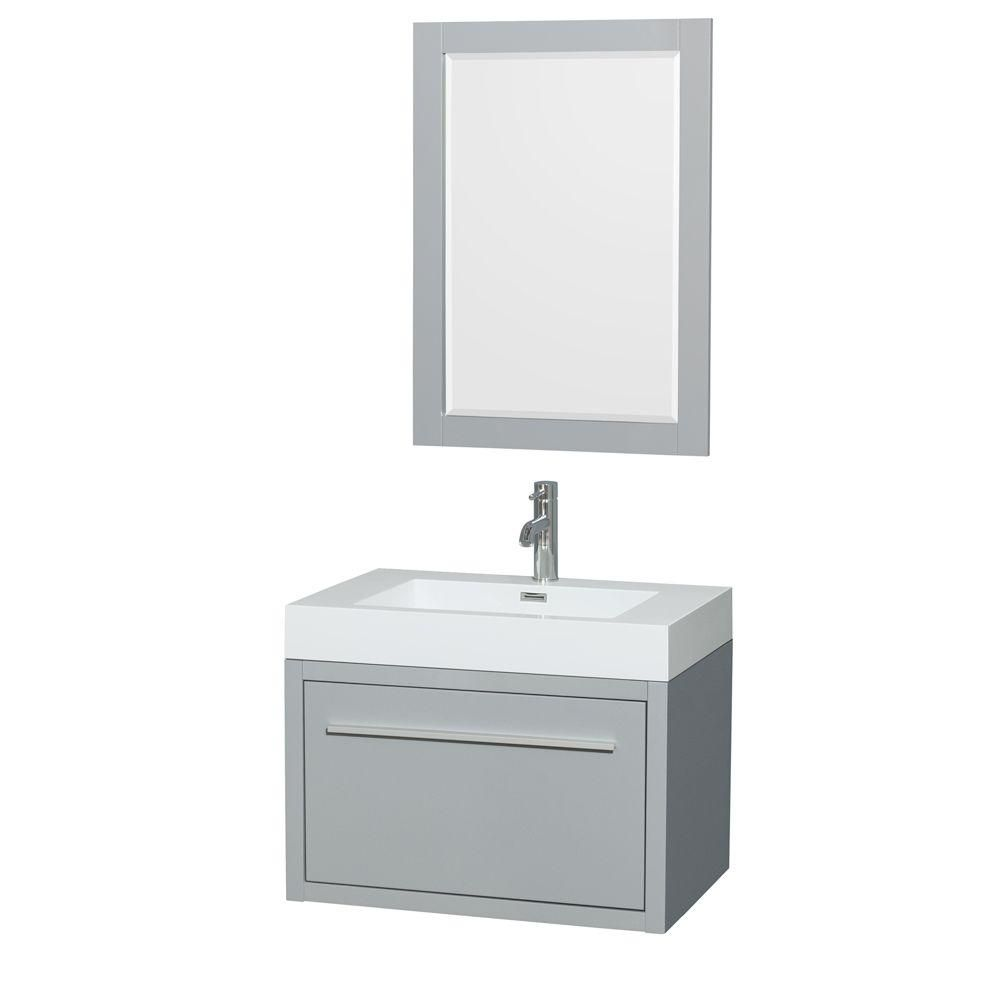 Axa 30-inch W Vanity in Dove Grey with Acrylic-Resin Top, Integrated Sink and Mirror
