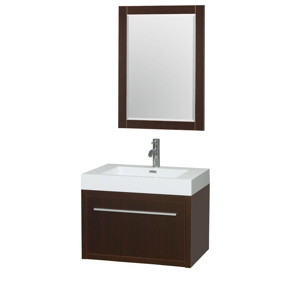 Axa 30-inch W Vanity in Espresso with Acrylic-Resin Top, Integrated Sink and Mirror