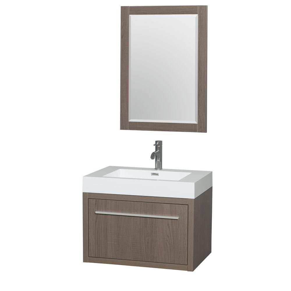 Axa 30-inch W Vanity in Grey Oak with Acrylic-Resin Top, Integrated Sink and Mirror