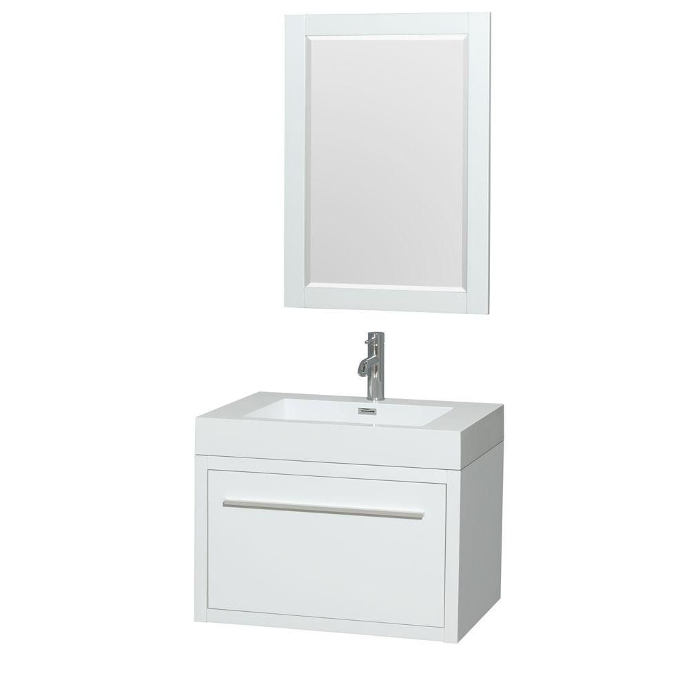 Axa 30-inch W Vanity in Glossy White with Acrylic-Resin Top, Integrated Sink and Mirror