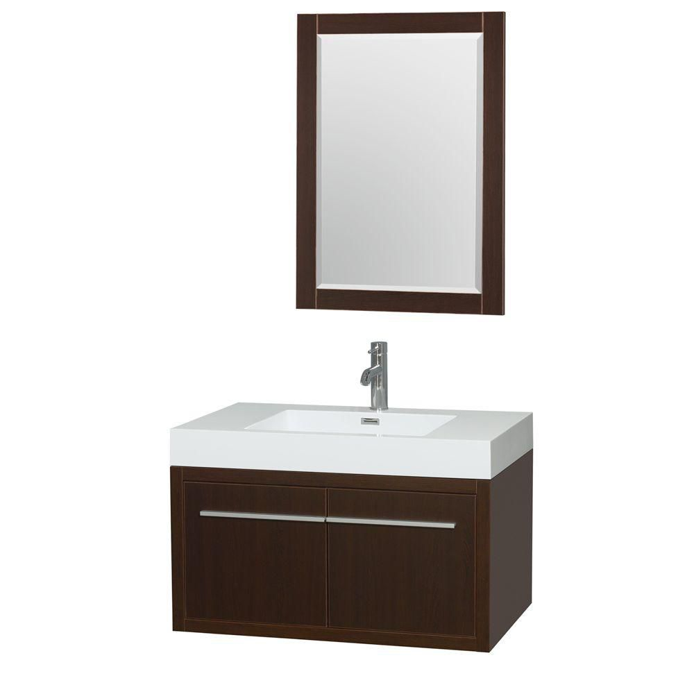 Axa 36-inch W Vanity in Espresso with Acrylic-Resin Top, Integrated Sink and Mirror