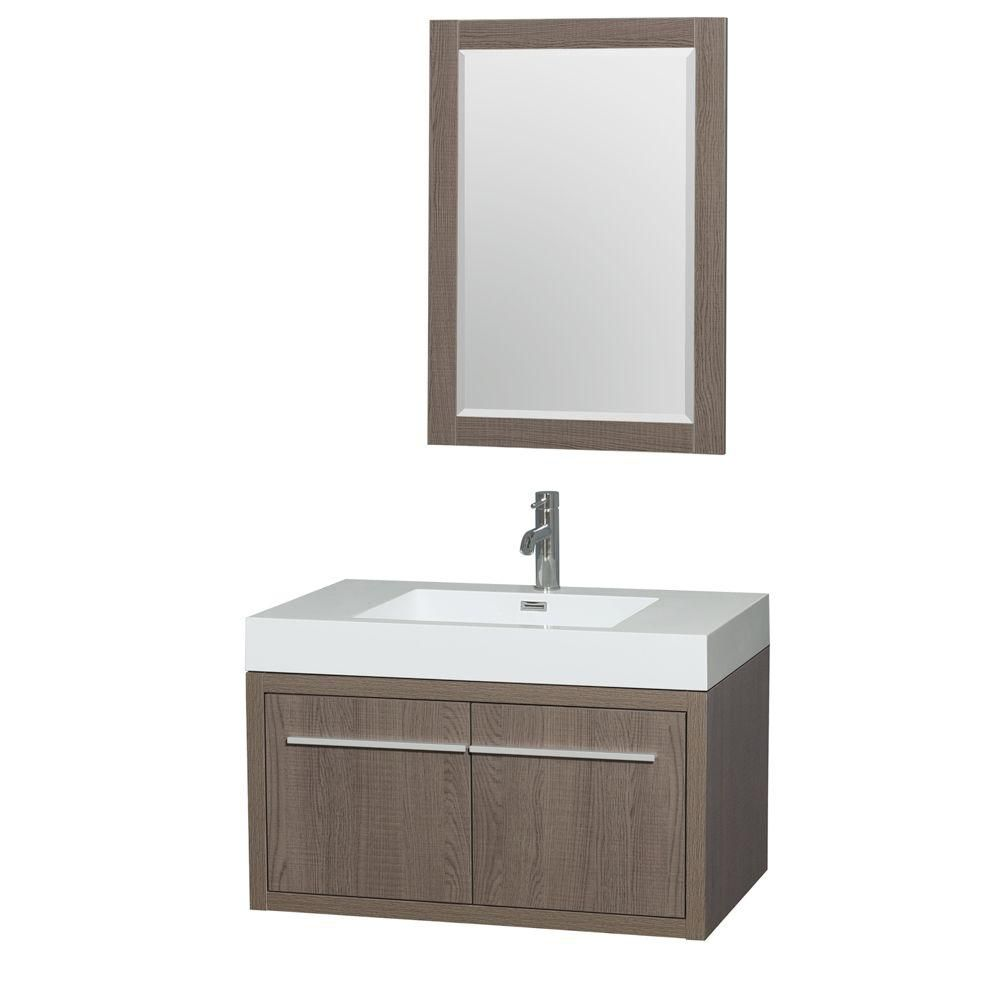 Axa 36-inch W Vanity in Dove Grey with Acrylic-Resin Top, Integrated Sink and Mirror