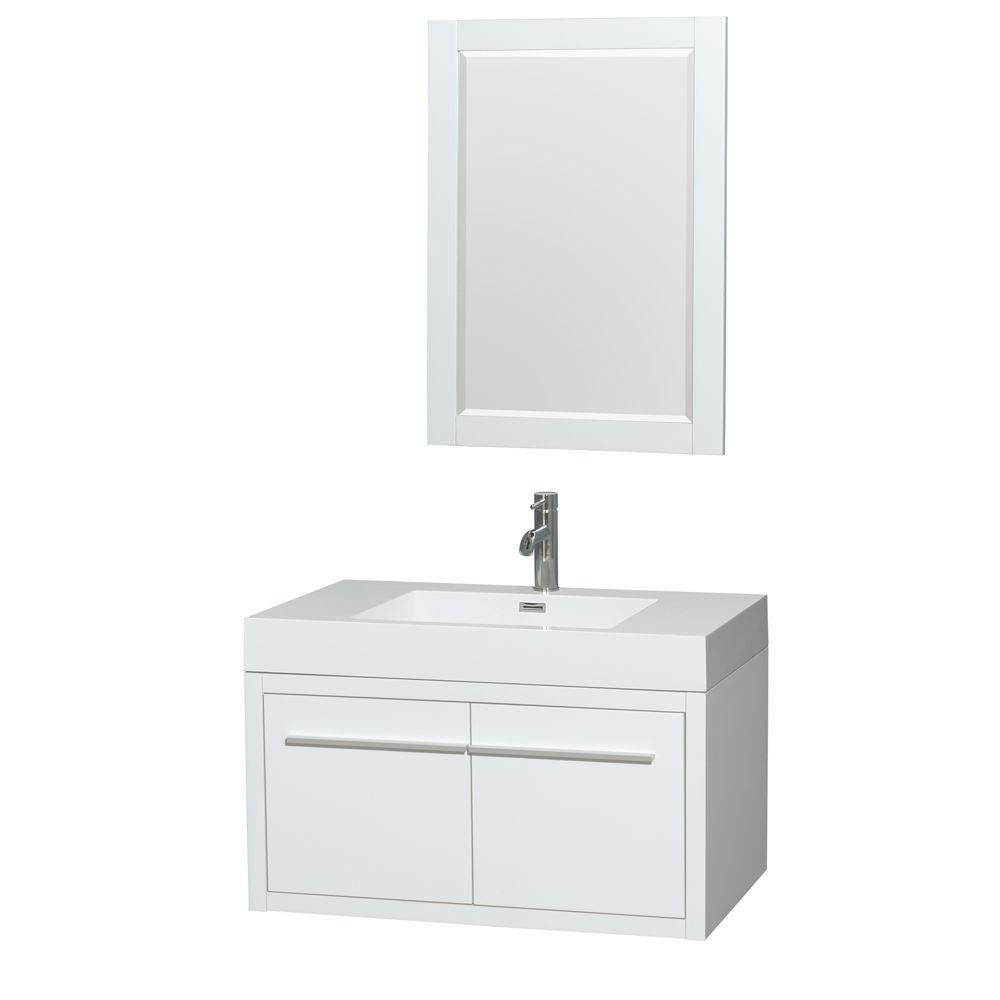 Axa 36-inch W Vanity in Glossy White with Acrylic-Resin Top, Integrated Sink and Mirror