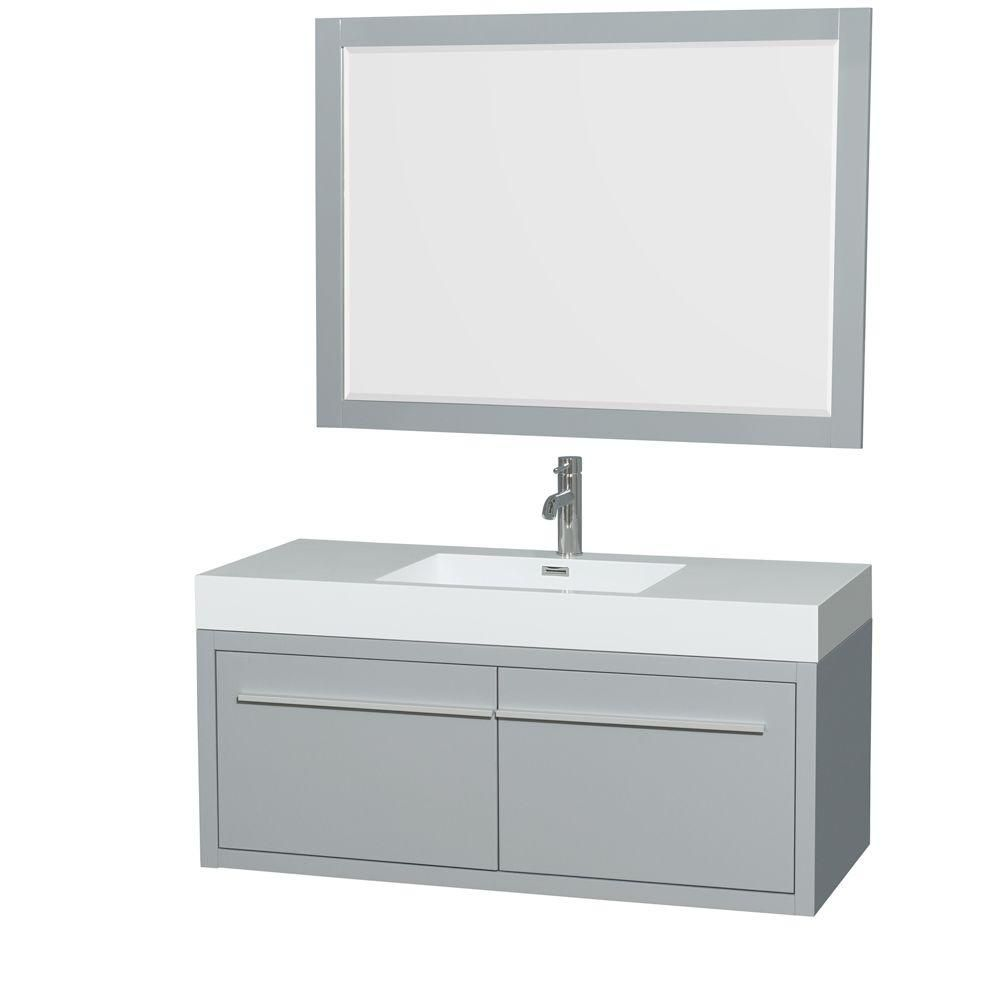 Axa 48-inch W Vanity in Dove Grey with Acrylic-Resin Top, Integrated Sink and Mirror