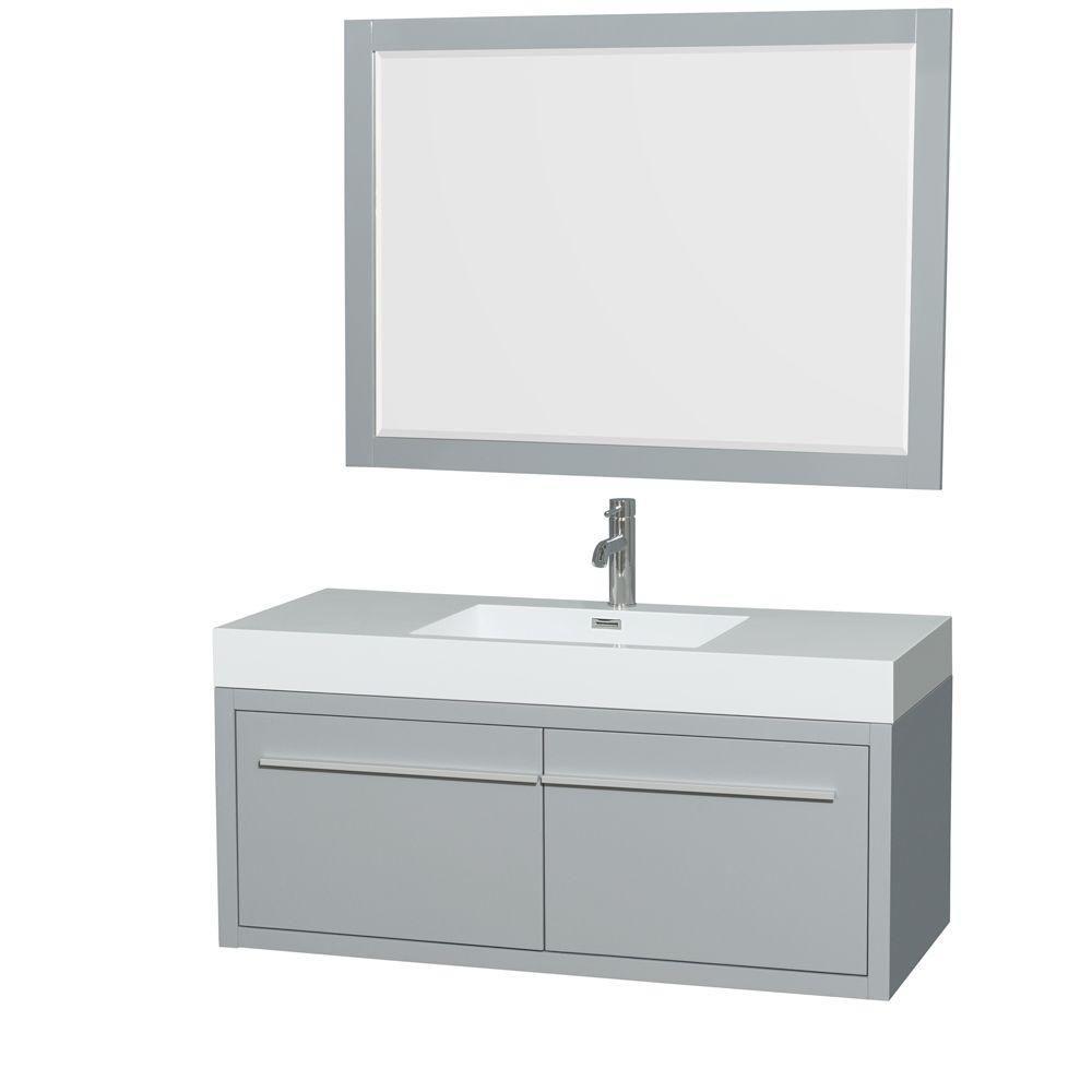 """Meuble s. bains simple Axa 48"""" gris colombe, comptoir résine acrylique, évier intégré, miroir 46"""""""