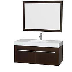 Wyndham Collection Axa 47-inch W 2-Door Wall Mounted Vanity in Brown With Acrylic Top in White With Mirror
