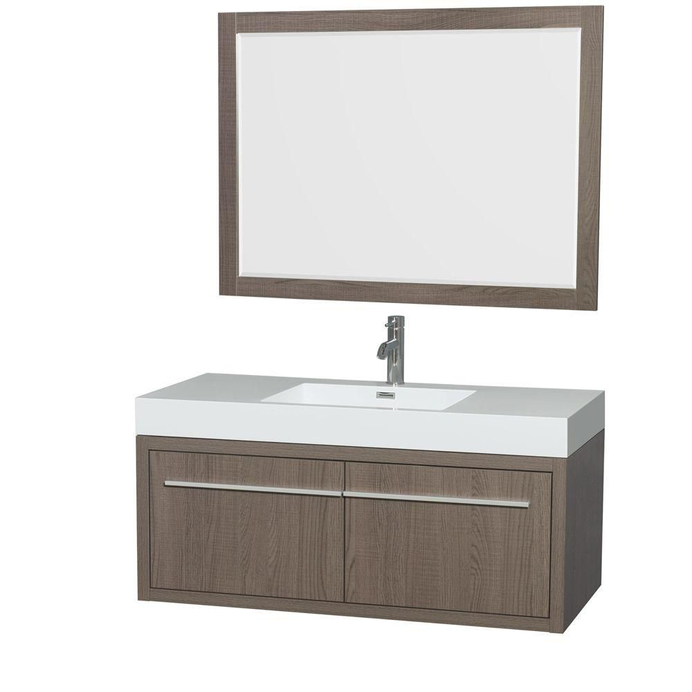 Axa 48-inch W Vanity in Grey Oak with Acrylic-Resin Top, Integrated Sink and Mirror