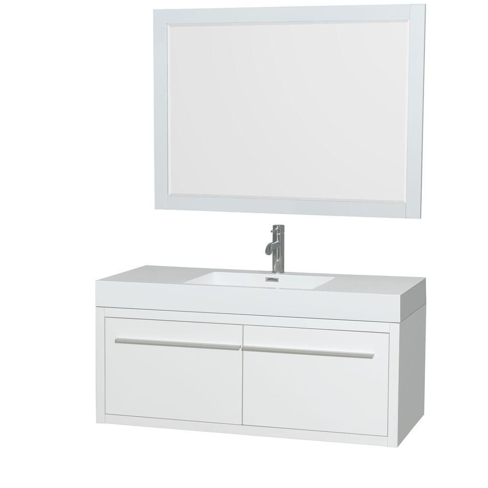 Axa 48-inch W Vanity in Glossy White with Acrylic-Resin Top, Integrated Sink and Mirror
