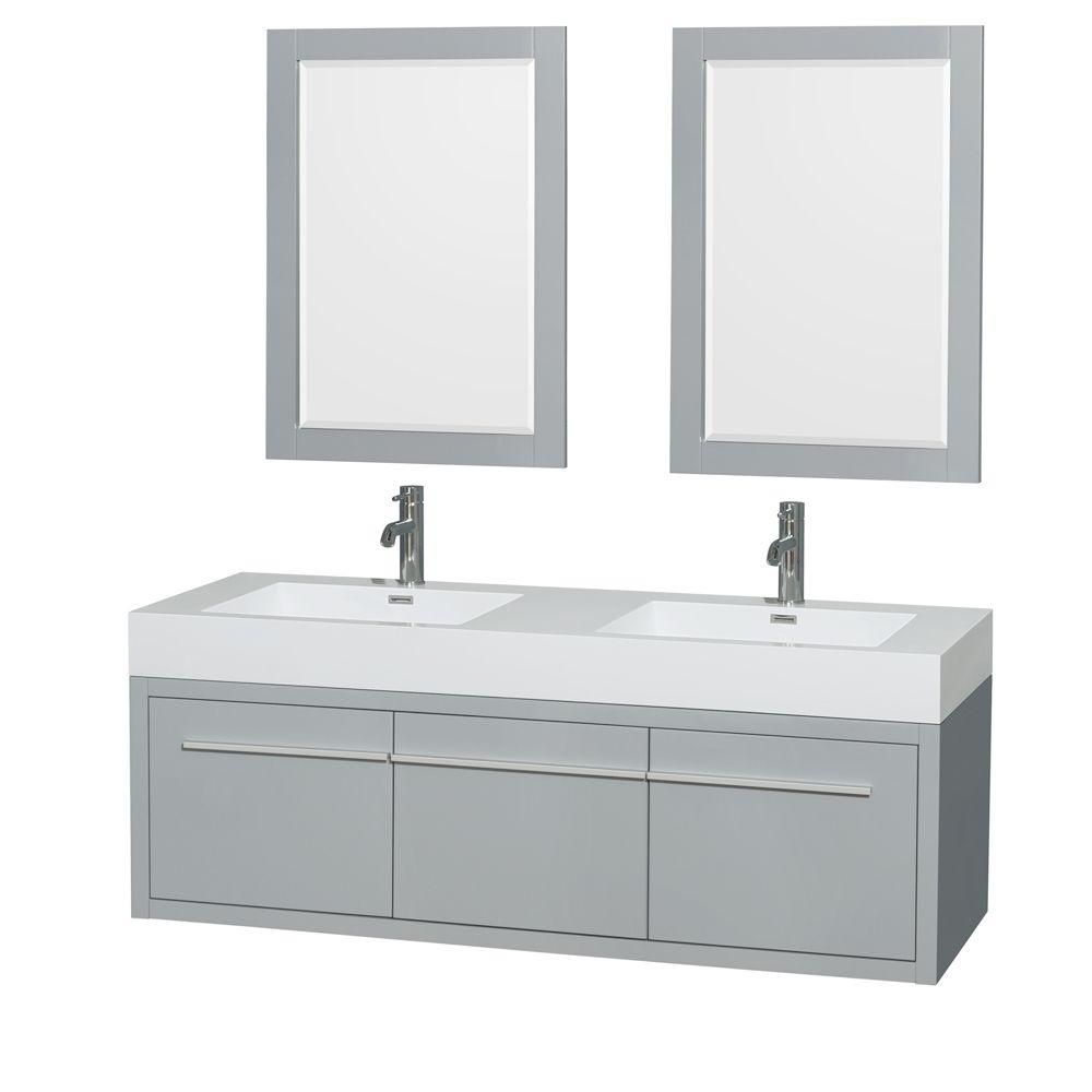 Axa 60-inch W Double Vanity in Dove Grey with Acrylic-Resin Top, Sinks and 24-inch Mirrors