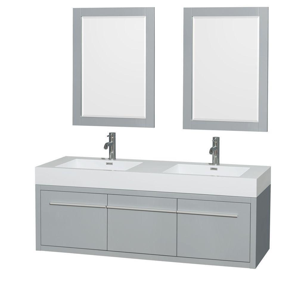 """Meuble s. bains dbl Axa 60"""" gris colombe, comptoir résine acrylique, éviers intégrés, miroirs 24"""""""